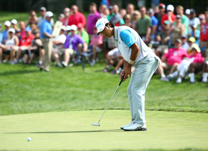 Hideki Matsuyama sunk a 10-foot putt to defeat Kevin Na on the first playoff hole of the 2014 Memorial Tournament at Muirfield VIllage on Sunday.