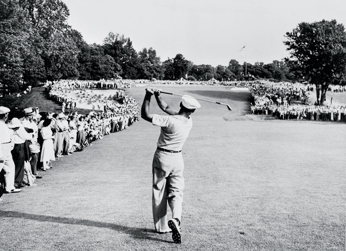 Hy Peskin's iconic photo of Ben Hogan captures his 1-iron approach to the final hole of the 1950 U.S. Open at Merion. Hogan reached the green, made par, and won the title the next day in the 18-hole playoff. The victory came 16 months after Hogan and his wife survived a near-fatal crash with a bus in Texas.