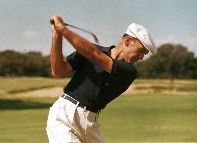 Ben Hogan's flat swing plane is perfectly illustrated in this June 1955 photo that appeared on the cover of LIFE Magazine.