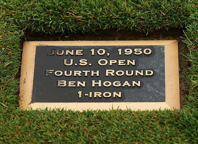 A plaque rests in the 18th fairway commemorating Ben Hogan's one-iron approach shot at the 1950 U.S. Open.