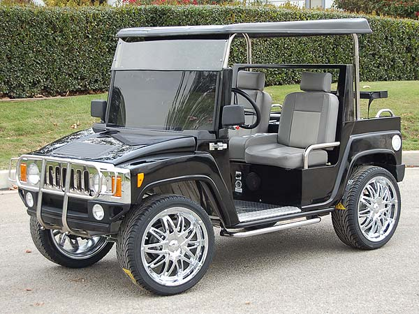 Hummer H3 Golf Cart                           Features include 15-inch custom-built wheels, an aluminum I-beam chassis, a genuine Hummer chrome grill, headlights, fog lights, and turn signals, for when you detour off the fairway. Plus it will seat your entire foursome. You can add options like a DVD entertainment system, running boards or leather interior for about $40,000, but at that stage you might as well buy a real one.                           Starting at $18,875 on mobileation.stores.yahoo.net