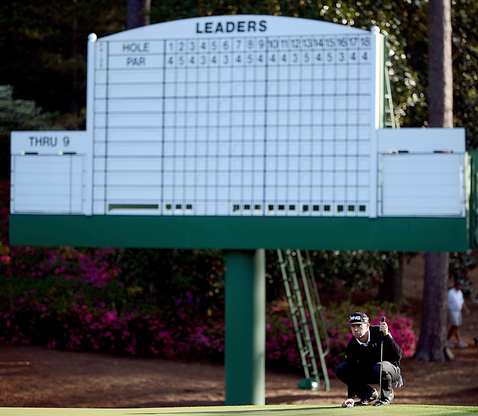 Hunter Mahan took a long look at a putt underneath one of the on-course leaderboards.