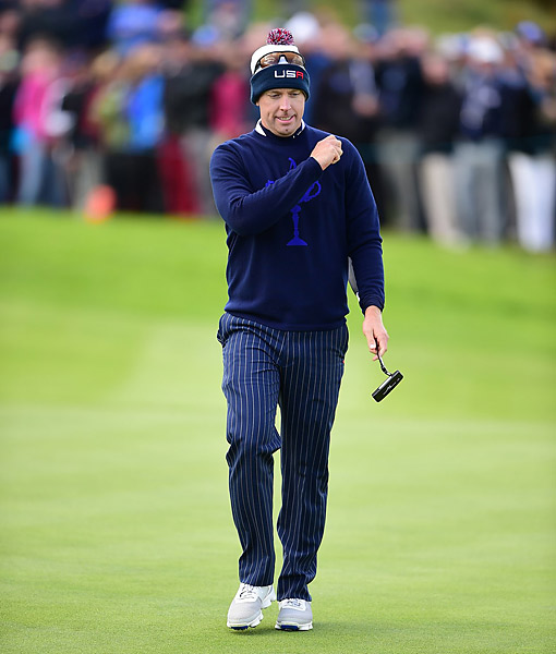 U.S. captain's pick Hunter Mahan and Zach Johnson fell to Justin Rose and Henrik Stenson 2 and 1 in foursomes.