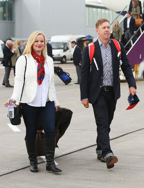 Captain's pick Hunter Mahan was accompanied by wife Kandi in Edinburgh.