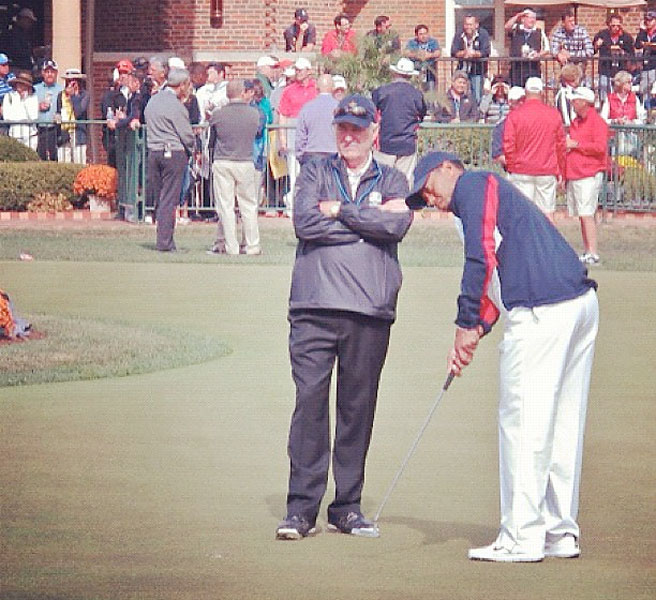@si_golf:Dave Stockton and Tiger Woods Thursday afternoon at Medinah.