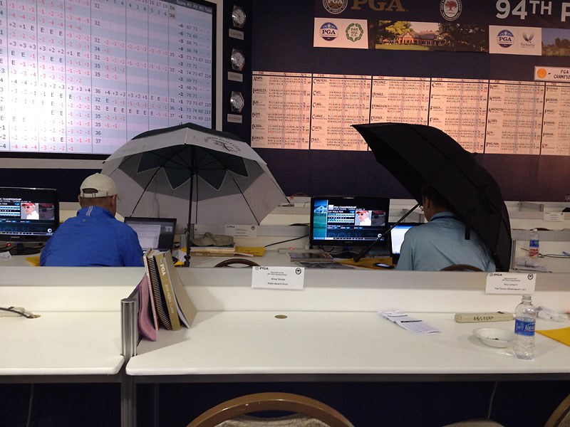 """@StephanieWei: Toss-up between @scottmichaux and @globewhitmer for best setup in leaky #pgachamp media tent #resourceful #whitmerwins"""