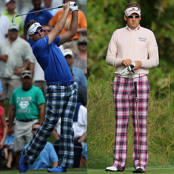 Occasionally he overdoes it, over-coordinating a single color. On a guy, a touch of pink goes a long way. Too much and you're in Paula Creamer territory.