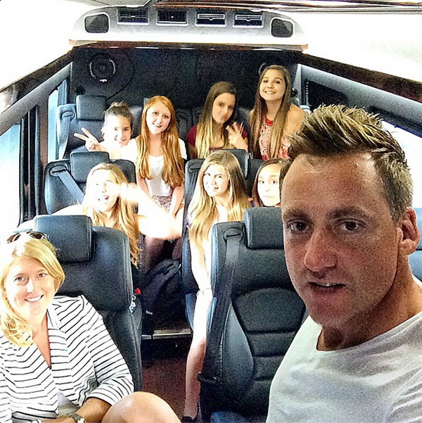 "Ian Poulter should get a 'Dad of the Year Award...' Ian: ""What have I got myself into, katie & I are taking my daughter and her mates to 1D concert in Tampa. Wish me luck...."""
