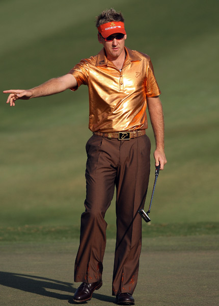 Here are Jessica Marksbury's picks for the 10 most outrageous style statements in golf. Who else deserves a mention? Tweet her @Jess_Marksbury                                                       10. Ian Poulter, 2008 Johnnie Walker Classic                           Poulter is one of the most consistently fashionable players on Tour (he appeared on my recent list of the 10 Best Dressed players in the game), but everyone is entitled to a slip-up now and then. While this look seems more suited for a nightclub than a round of tournament golf, Poulter is still the only player capable of wearing it without a hint of irony.