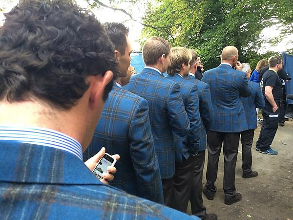 "Twitter devotee Ian Poulter also got in on the act: ""Lineded up and ready to get this show on the road. Opening ceremony. #RyderCup2014"""