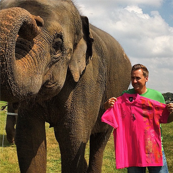 @ianjamespoulter I signed an #ijpdesign shirt and Chandrika #Woburn Safari Park elephant painted it. It will be auctioned off for Charity. Info to follow soon.