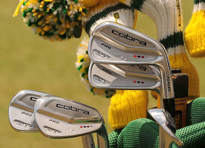 Ian Poulter plays custom-stamped Cobra AMP Cell Pro irons.