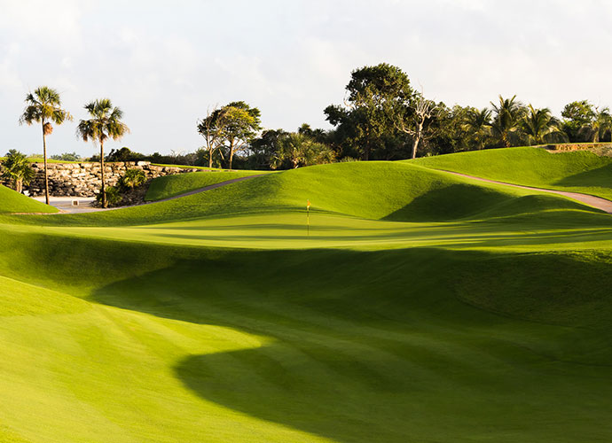 Iberostar Playa Paraiso, Playa del Carmen, Quintana Roo                           Thirty minutes south of Cancun sits this 2005 P.B. Dye design that rolls out rock riverbeds and Mayan jungle borders that influence most of its holes. Not long at 6,701 yards, the course's teeth hide in its hilly terrain, deep bunkers and undulating greens.