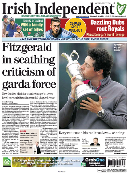"The Irish Independent - ""Rory Returns to His Real True Love - Winning,"" Monday, July 21, 2014."