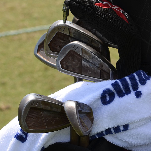 J.J. Henry plays Callaway's RAZR X Forged irons, but his set is unfinished so the raw steel slowly rusts.
