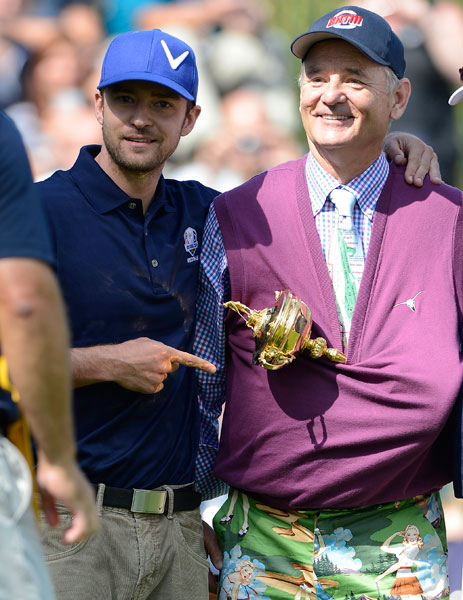 Justin Timberlake and Bill Murray joked around with the trophy during a celebrity scramble before the Ryder Cup at Medinah outside Chicago.