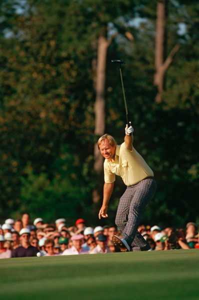 Jack Nicklaus - 1986                            Jack made a monumental back-nine charge, shooting a 30 that featured an eagle-birdie-birdie stretch on 15, 16, and 17. The round featured several clutch shots, but the tricky 12-footer he holed for birdie on 17 most resonates. After parring the 18th and carding a 65, Nicklaus watched as Tom Kite, Norman and Seve Ballesteros faltered to give Jack his sixth green jacket.