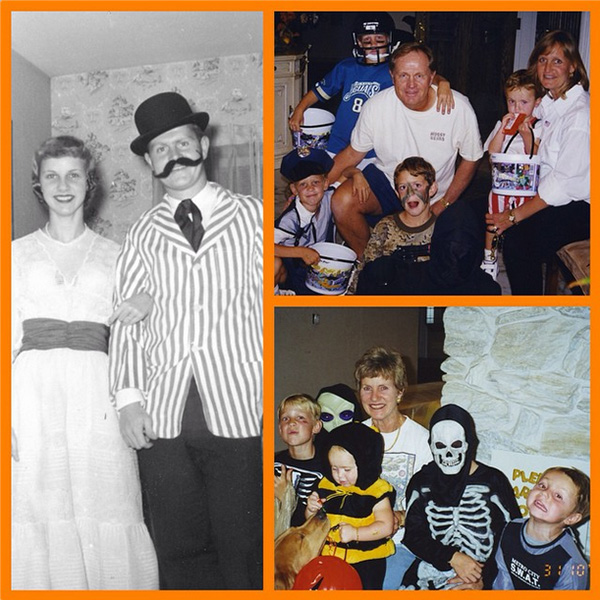 @jacknicklaus Flashback Friday: A bag full of Halloween memories from the Nicklaus family. Left: Barbara and Jack at an Ohio State frat party in 1960; right: Barbara and Jack huddled with trick-or-treating grandkids. #flashbackfriday #fbf #halloween #happyhalloween #jacknicklaus #nicklaus #goldenbear #golf #ohiostate