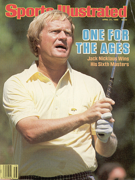 Nicklaus on the cover of Sports Illustrated after winning the 1986 Masters, his 18th, and final, major championship.