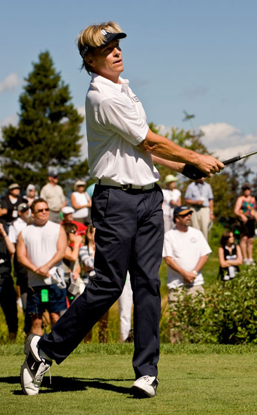"""Jack Wagner plays in the 2012 American Century Championships celebrity tournament at Edgewood Tahoe Golf Course. The """"Melrose Place"""" and daytime soap star is a two-time champion at the ACC and a +.1 at Bel Air Country Club."""