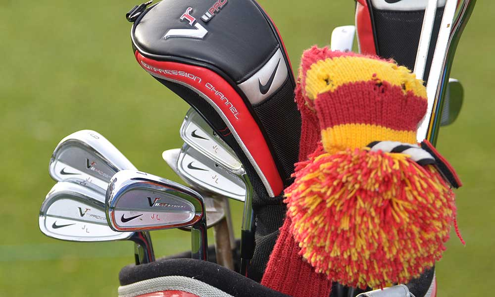 Jamie Lovemark shows off his USC pride on his Nike golf bag.