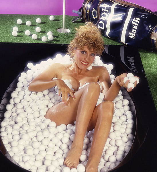 Australian Jan Stephenson, who won three majors and 16 LPGA events, turned heads with this photo for Maxfli's 1986 calendar. Stephenson told Golf Magazine in 2003 that she was actually wearing something else under those balls.                                                      How often are you asked to sign that poster?                           All the time, and I love it, too. You would have liked what I had on underneath the balls.                           And here I thought we weren't making progress.                           I had on a little bikini bottom and two round pieces of cardboard discreetly covering my nipples.