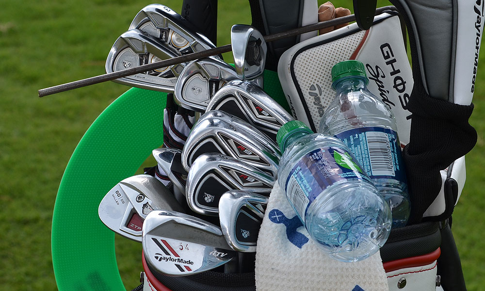 Jason Day knows the importance of staying hydrated in the Florida heat. When he wasn't drinking water on Tuesday, he was using his TaylorMade Tour Preferred long irons and R9 TP mid- and short irons.