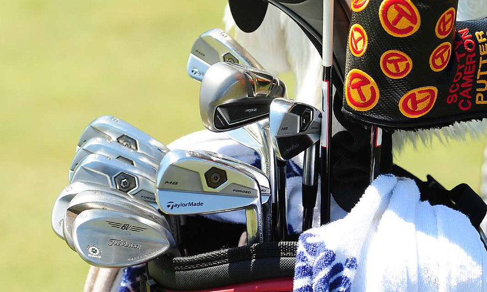 Jason Gore's bag holds a TaylorMade RocketBallz long iron, Tour Preferred MB mid- and short-irons, and Titleist Vokey Design SM4 wedges.