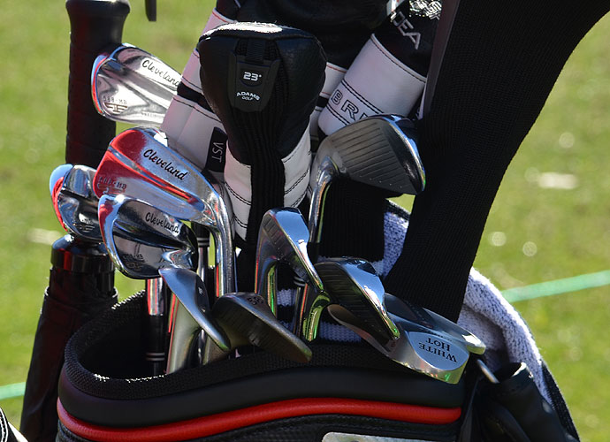 Jeff Overton has Cleveland Forged 588 MB irons and Adams Speedline Super LS hybrids in his bag.