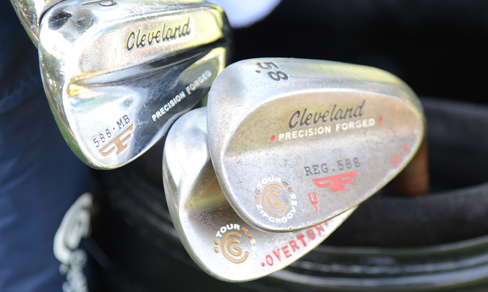 Jeff Overton had some red paint added to his Cleveland 588 Forged wedges.
