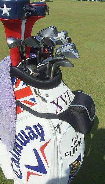 Jim Furyk's clubs were housed in a custom Callaway British Open golf bag at Muirfield.