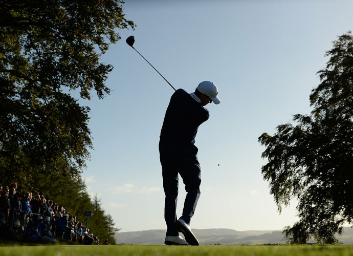 Jimmy Walker rips his tee shot during the Friday morning four ball. Walker and RIckie Fowler halved their match against Thomas Bjorn and Martin Kaymer.