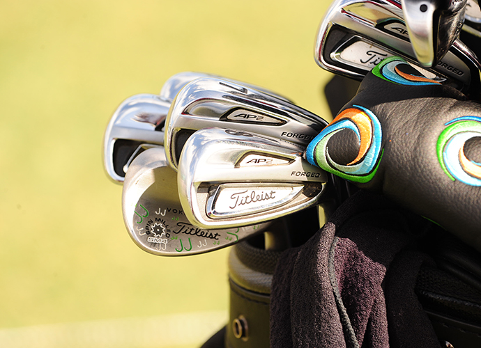 Jin Jeong has a little color in his bag to go along with his engraved Vokey SM4 wedges.