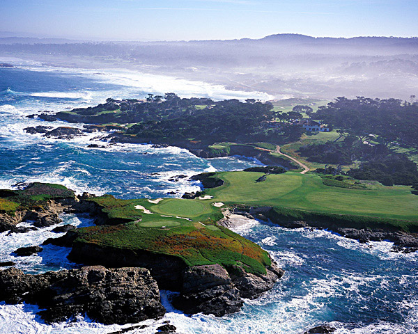 Hole No. 16                       Cypress Point                       Pebble Beach, California                       16th hole; par 3, 231 yards                                              Merely getting access to play Cypress Point is the toughest challenge in golf, but the test offered at the 16th is a close second. This is macho golf at its finest, demanding a gut-busting rip with anything from a hybrid to a driver, depending on the wind-anything that will carry your ball more than 200 yards over the crashing waves of the Pacific to a green guarded by a charm bracelet of five bunkers. A strip of fairway 140 yards away offers a conservative route for the less skilled