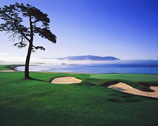 Hole No. 18                       Pebble Beach                       Pebble Beach, California                       18th hole; par 5, 543 yards                                              There may be tougher finishing holes out there, but none are as dramatic. Arcing to the left along Carmel Bay, Pebble's 18th is a better hole today than it was years ago, because modern equipment allows the majority of bold hitters to challenge the green in two. But to succeed your drive has to hug the ocean, well to the left of the tall tree, a gigantic bunker and OB stakes that line the right side. An approach from the right, whether on the second or the third shot, must avoid a tall Monterey pine and a large bunker fronting the right side of the green. While the beauty is overwhelming here, the strategy is what elevates the hole, thanks to its simple risk/reward sensibility: How close to water's edge do you dare play?                                              • Tell us: What holes would be in your Dream 18?