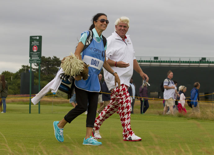 Anna Cladakis caddied for boyfriend and 1995 Open Champion John Daly during his Monday practice round.