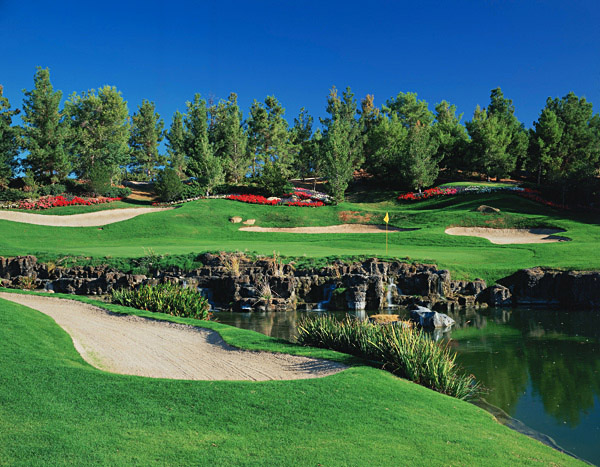 Hole No. 8                       Shadow Creek                       North Las Vegas, Nevada                       18th hole; par 5, 527 yards                                              Architect Tom Fazio once said that today's designers can do anything with money and imagination. The ultimate proof is Shadow Creek's stunning, reachable par-5 18th. What started as a poker table-flat site in the desert north of The Strip was transformed into this rollicking closing hole. From an elevated tee, ambitious players will challenge a water carry on both shots via a series of three lakes separated by waterfalls. Opt for the three-shot route and you'll still have to fly water. The beauty factor is striking, but the strategy demands are even stronger.