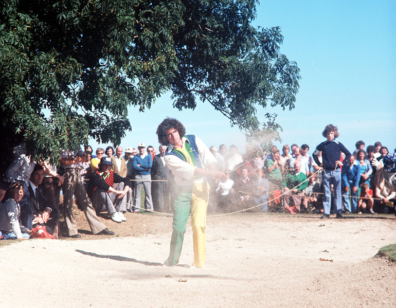 2. John O'Leary, circa 1970s                           I'd like to say that this outfit is the worst to ever appear on a golf course, but since this photo was taken during the 1970s, I'm willing to give O'Leary a break. The problem here is his pants: one leg green and the other yellow. Had he stuck with one color or the other, he could have saved the look entirely. One thing is clear, though: an outfit this bad is definitely intentional.