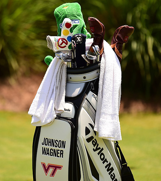 Johnson Wagner is representing Virginia Tech on his bag of mixed clubs.