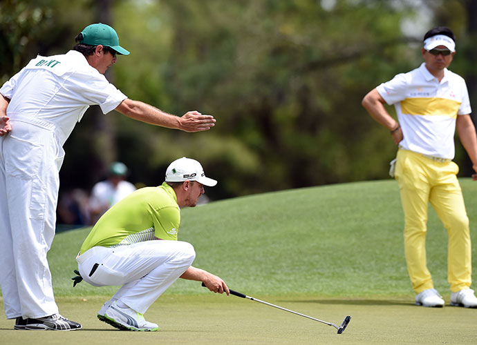 Jonas Blixt and his caddie line up a shot. The Swede fired a 1-under 71 on Friday.