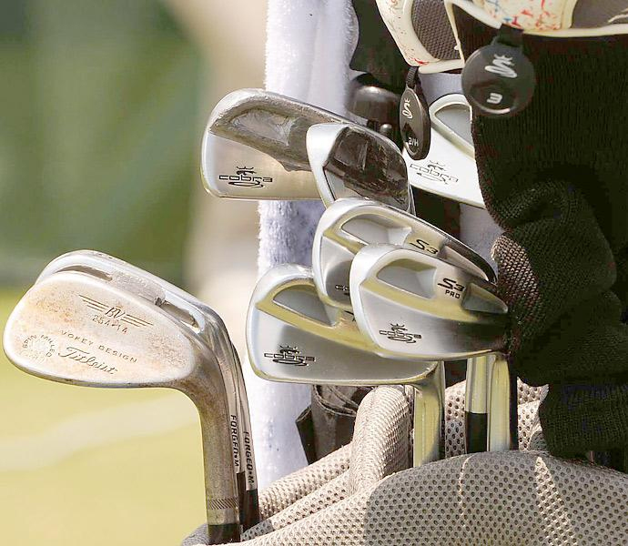 Jonas Blixt uses lead tape on some of his Cobra S3 Pro irons.
