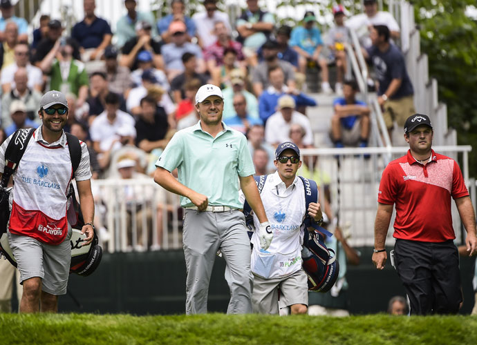 Jordan Spieth was -2 after shooting a second-round 70. Patrick Reed shot 66 and was T12 at -5, three shots off the lead.