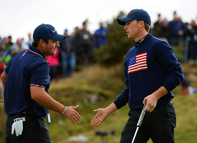 Patrick Reed and Jordan Spieth led for much of their foursomes match against Martin Kaymer and Justin Rose, but they lost the final hole to settle for half a point. It would turn out to be the only points Team USA recorded in the afternoon session.