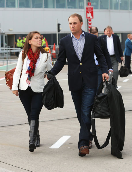 Jordan Spieth was accompanied by girlfriend Annie Verret as he arrived in Scotland for his first Ryder Cup.