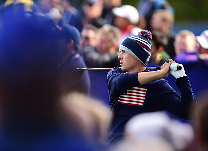 Jordan Spieth and Patrick Reed defeated Martin Kaymer and Thomas Bjorn 5 and 3.