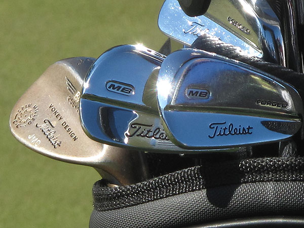 Inside Jose Maria Olazabal's bag are Titleist Forged 710 MB irons and Vokey Spin Milled wedges.