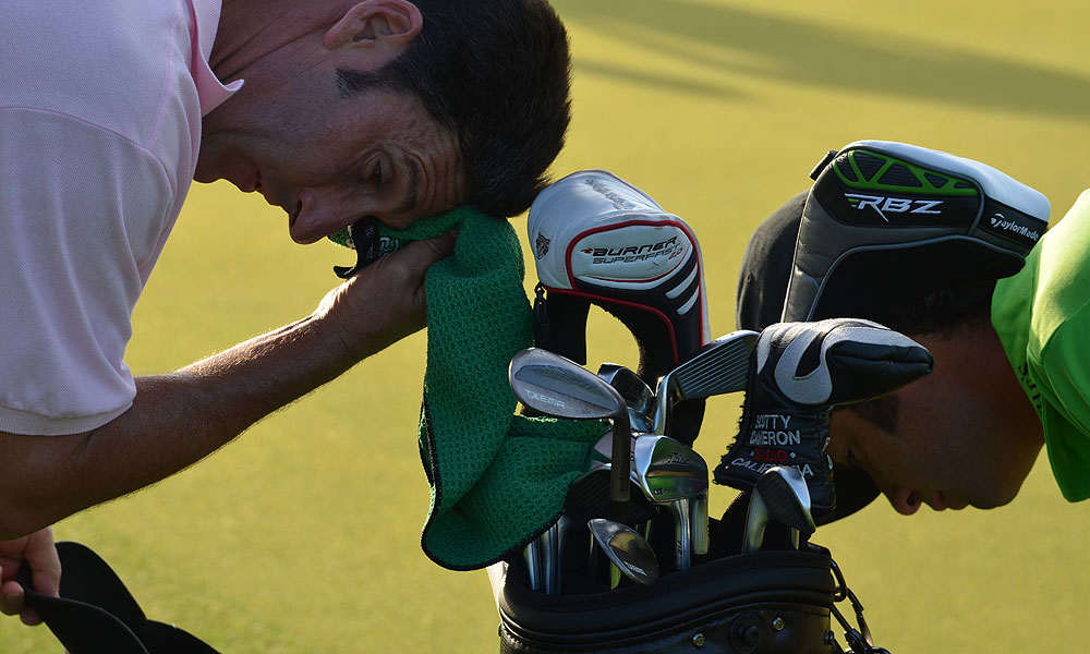 Jose Maria Olazabal kept the sweat off his Titleist Forged 712 MB irons and Txema wedges.