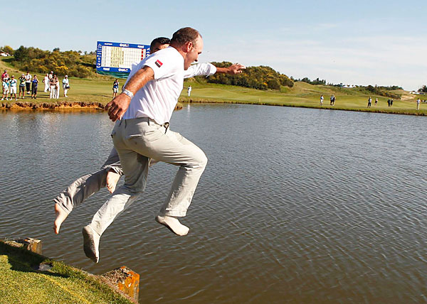 "Thomas Levet: Broke Shin in Victory Leap Into Lake                             The Frenchman had to withdraw from the 2011 British Open after breaking his shin when celebrating his French Open win with a victory plunge into a lake. ""I think it's the silliest thing that players have done over the years, I really do,"" Colin Montgomerie told The Associated Press afterward. ""I've always been suspect about people diving into lakes that don't know how deep it is and what's in there."""