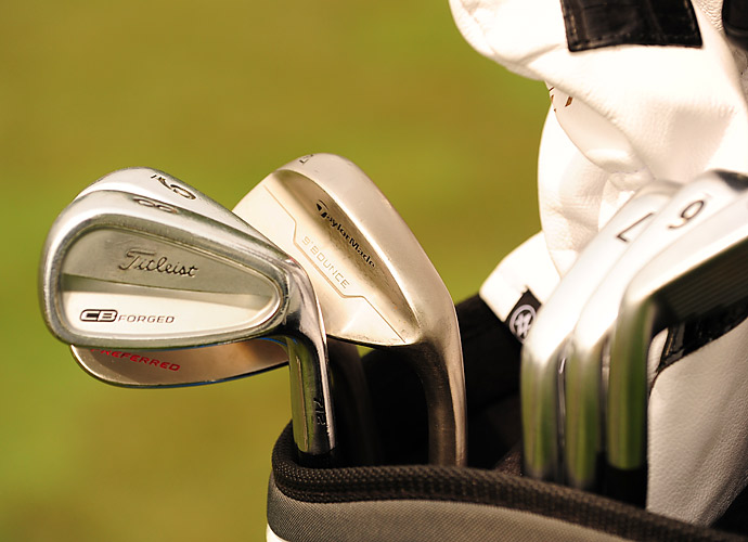 Justin Hicks is playing a mixture of Titleist CB Forged irons and new TaylorMade Tour Preferred wedges.