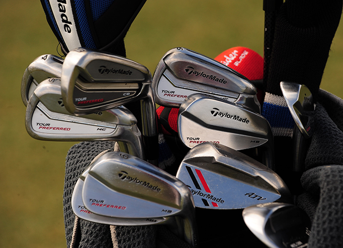 Justin Rose plays a mixed iron set of TaylorMade Tour Preferred CB, Tour Preferred MC and Tour Preferred MB.